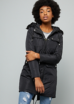 Black Quilted Faux Fur Trim Hooded Anorak Coat