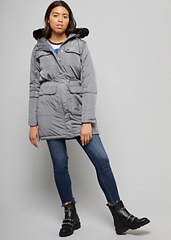 Gray Quilted Faux Fur Trim Hooded Anorak Coat