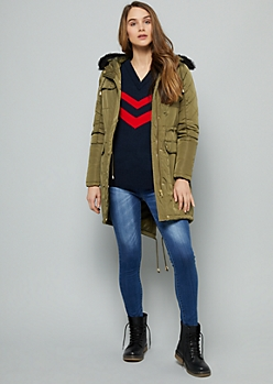 Olive Faux Fur Trim Hooded Anorak Coat