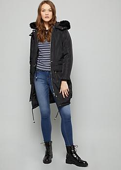 Black Faux Fur Hood Long Length Anorak Jacket