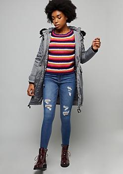 Gray Faux Fur Hood Long Length Anorak Jacket