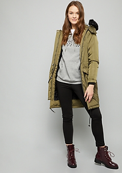 Green Faux Fur Hood Long Length Anorak Jacket