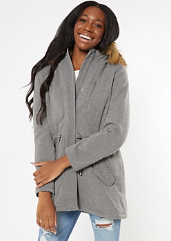 Heather Gray Fleece Faux Fur Hood Anorak Jacket