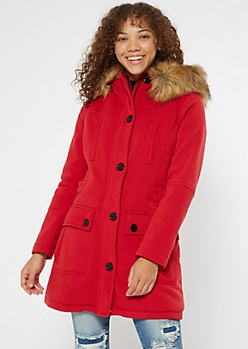 Red Faux Fur Hooded Fleece Coat