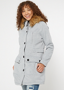 Gray Faux Fur Hooded Fleece Coat