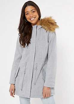 Gray Fleece Cinch Waist Faux Fur Hood Jacket