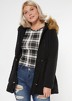 Black Cinch Waist Fur Trim Hood Coat