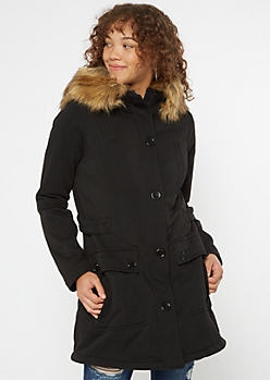 Black Faux Fur Hooded Fleece Coat