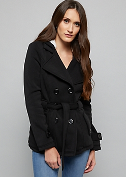 Black Faux Fur Lined Knit Peacoat