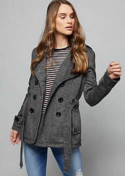 Charcoal Gray Faux Fur Lined Knit Peacoat