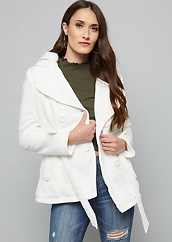 Cream Faux Fur Lined Knit Peacoat