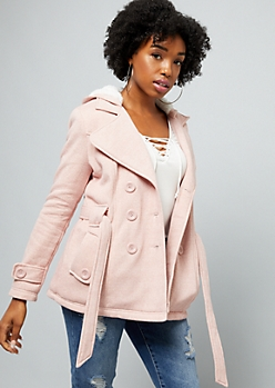 Light Pink Faux Fur Lined Knit Peacoat