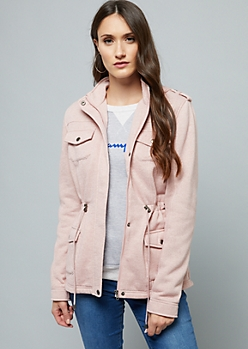 Pink Fleece Lined Knit Anorak Jacket