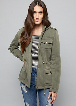 Olive Fleece Lined Knit Anorak Jacket