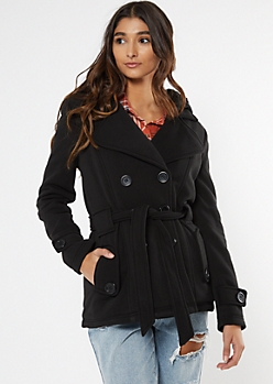 Black Cozy Sherpa Hood Short Peacoat