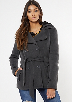 Charcoal Cozy Sherpa Hood Short Peacoat