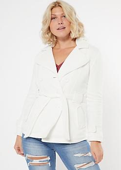 Cream Cozy Sherpa Hood Short Peacoat