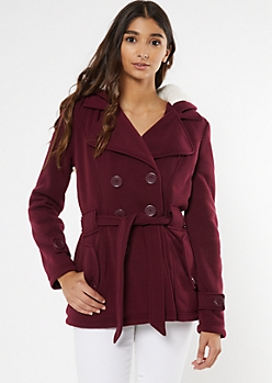 Burgundy Cozy Sherpa Hood Short Peacoat