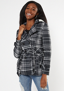 Black Plaid Cozy Sherpa Hood Short Peacoat