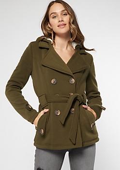 Olive Cozy Sherpa Hood Short Peacoat