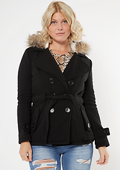 Black Faux Fur Hood Short Peacoat