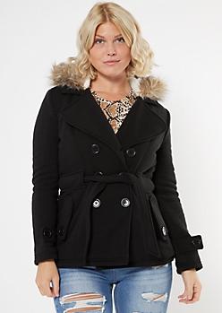 Black Faux Fur Hood Short Peacoat
