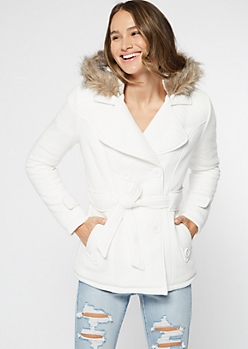 Cream Faux Fur Hood Short Peacoat