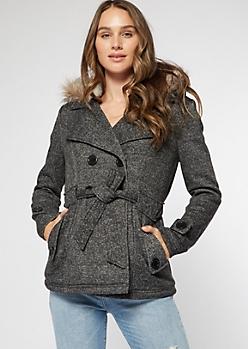 Charcoal Marled Faux Fur Hood Short Peacoat