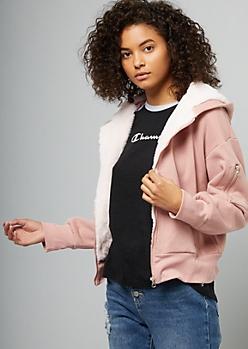 Pink Faux Fur Lined Skimmer Hoodie