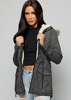 Charcoal Tie Waist Faux Fur Trim Hooded Jacket