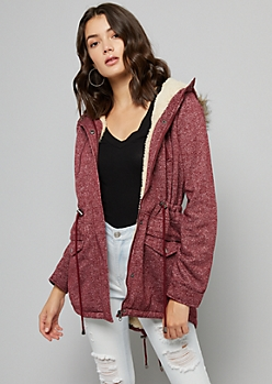 Burgundy Tie Waist Faux Fur Trim Hooded Jacket