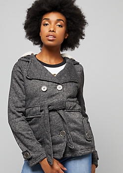 Gray Marled Faux Fur Lined Metal Button Peacoat