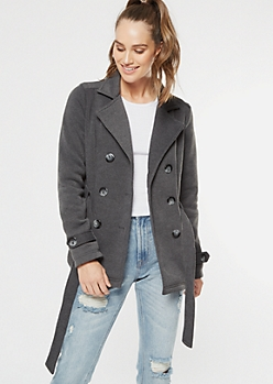 Gray Fleece Button Down Peacoat