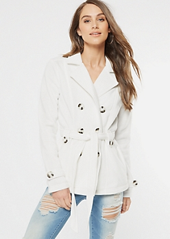 White Fleece Button Down Peacoat