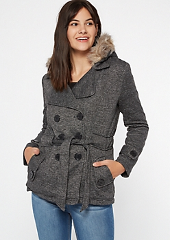 Gray Marled Sherpa Hooded Peacoat