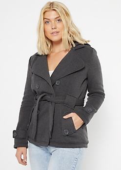 Gray Sherpa Lined Hooded Peacoat