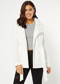 White Sherpa Lined Hooded Peacoat