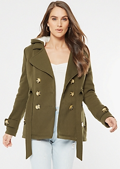 Olive Sherpa Lined Hooded Peacoat