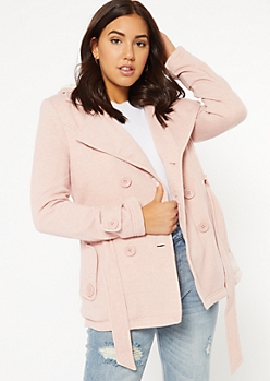 Pink Sherpa Lined Hooded Peacoat