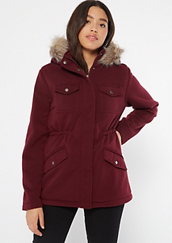 Burgundy Sherpa Fleece Hooded Peacoat