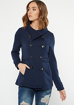 Navy Fleece Lined Peacoat