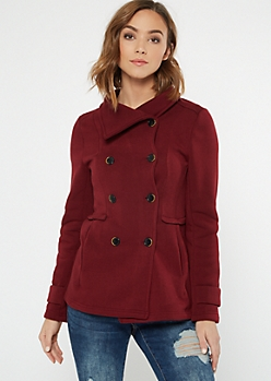 Burgundy Fleece Lined Peacoat