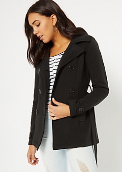 Black Fleece Lined Hooded Peacoat