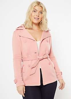 Pink Fleece Lined Hooded Peacoat
