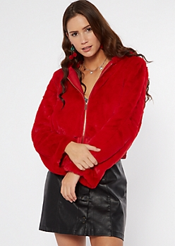 Red Faux Fur Hooded Zip Up Jacket