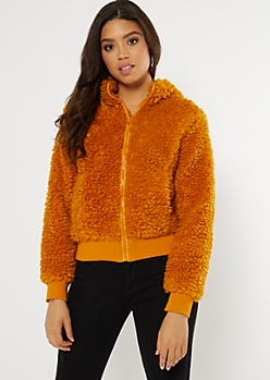 Camel Full Zip Teddy Jacket