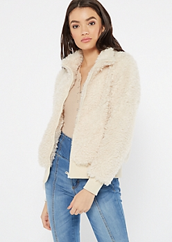 Ivory Faux Fur Zip Front Jacket