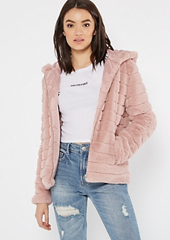 Pink Ribbed Faux Fur Hooded Jacket