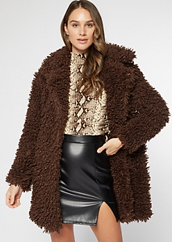 Brown Shaggy Teddy Coat