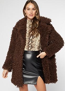 Brown Shaggy Teddy Coat